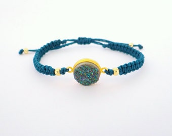 Stackable Druzy Bracelet with Gold Beads and Blue Thread