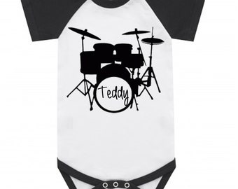 Cool Personalised drum kit Ranglan style baby vest