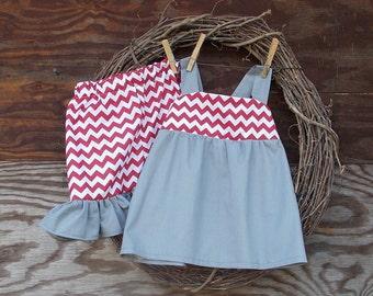Girls Summer Outfit, Kids Ruffle Short, Girls Red Short Set,  Girls  Outfit, Girls Summer Short Set