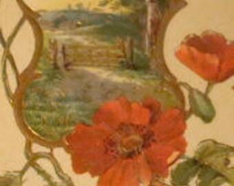 Pretty Vintage Floral/Sceanic Postcard