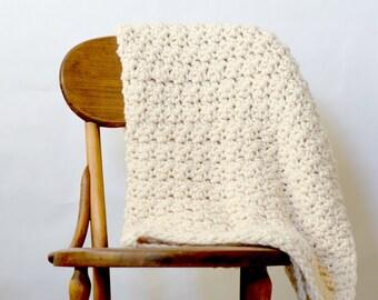 Crochet Chunky Blanket Pattern, Chunky Icelandic Cream Blanket Pattern, Easy Crochet Afghan Pattern, White Lapghan pattern, Big Yarn Blanket