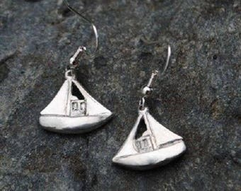 Fishing Boat Pewter Earrings