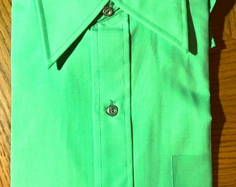 1970s Mens Dress Shirt Green Half Sleeve Size 15 Tapered Body Vtg New Deadstock NOS May Company