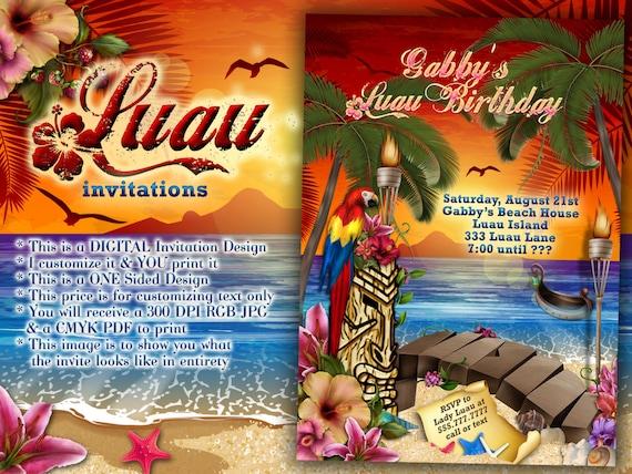Luau Party Invitations Hawaiian Theme Party Luau Party
