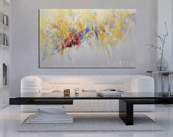 Large Contemporary Art Painting Oil Modern Abstract Painting, Yellow Painting Abstract Artwork, Oversized Painting, Large Wall Art