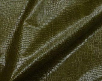 "Leather 8""x10"" REPTILE Olive Green Cowhide 3.5 oz /1.4 mm PeggySueAlso™ E2935-01 Full hides available"