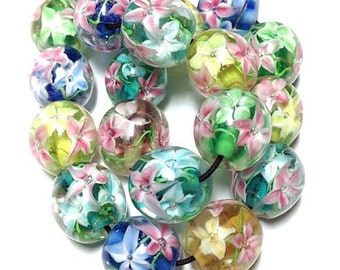 10 pieces 12mm Flower Glass Beads, Round Flower Beads, Starburst Flowers, 5 colors