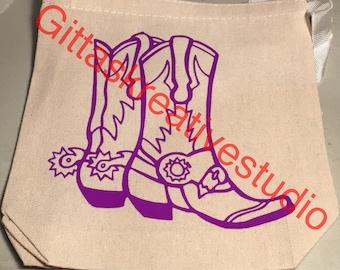 Purple cowboy boots tote