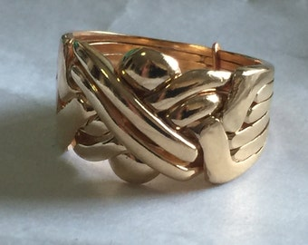 9k gold 6 band puzzle ring