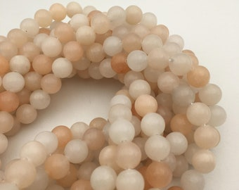 """2.0mm Large Hole Pink Aventurine Smooth Round Gemstone Loose Beads Size 8mm/10mm/12mm Approx 15.5"""" Long per Strand"""