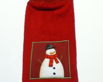 Snowman Hand Towel With Claret Crocheted Top