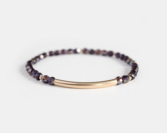 Tanzanite Beaded Bar Bracelet - Gold Filled or Sterling Silver - Nuelle