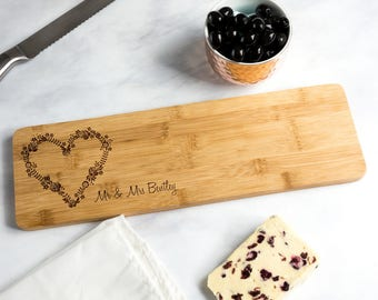Bamboo Serving Board - Personalised Serving Board - Personalised Wedding Gift - Gift For Couples - Gift For Foodies - LC295
