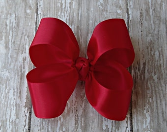 "Red Satin Large Hair Bow 4"" Christmas Hairbow 4"" Hair Bow Large Hair Bow Girl Hairbow Christmas Red Satin Bow Christmas Red Bow"