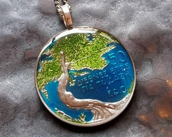 Cyprus - International Year of the Forest Coin Pendant - Hand Painted
