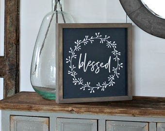 Framed Rustic Blessed Farmhouse Sign - Wreath Sign - Joyful Thankful Blessed Signs - Gratitude Sign - Gallery Wall Sign - Rustic Wood Sign