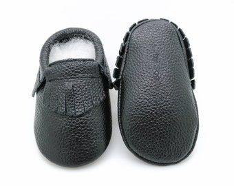 Black Fringe Moccasins, Baby Black Moccasins, Baby Leather Shoes, Genuine Leather Moccs, Toddler Moccasins, Baby Moccs, Baby Shower Gift