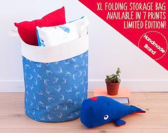 Whale Laundry Bag Blue, Large Fabric Clothes Basket, Nautical Decor, Bedding Linen Storage, Big Laundry Hamper, Bathroom Towels Storage