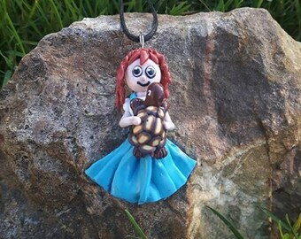 "Necklace ""LILI"" girl and her turtle made of polymer clay."