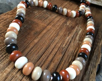 earth tones glass beaded necklace, fall necklace, gift for her, Christmas gift, brown necklace, neutral tone necklace, layering necklace