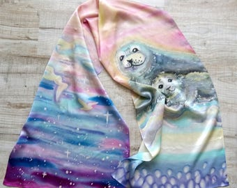 Scarf with seals. Soft Satin Scarf. Painted Scarf. Gift ideas for women. Hand-painted on silk. Made to order.