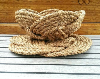 Nautical Rope Basket & Table Mat Set. Natural Manila Trivet, Bowl. Celtic Knot Fruit Bowl, Centrepiece. Wedding Gift. Handmade, no glue used