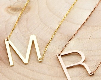 Large Initial Necklace, Oversized Letter Alphabet Personalized Necklace,Sideways Initial Necklace, Silver Necklace, Silver, Gold, Rose, Gift