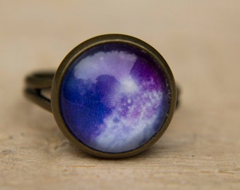Space Ring, Galaxy Ring, Solar System Ring, Purple Ring, Adjustable Ring, Glass Dome, Statement Ring, Space Jewelry, Solar System Jewelry