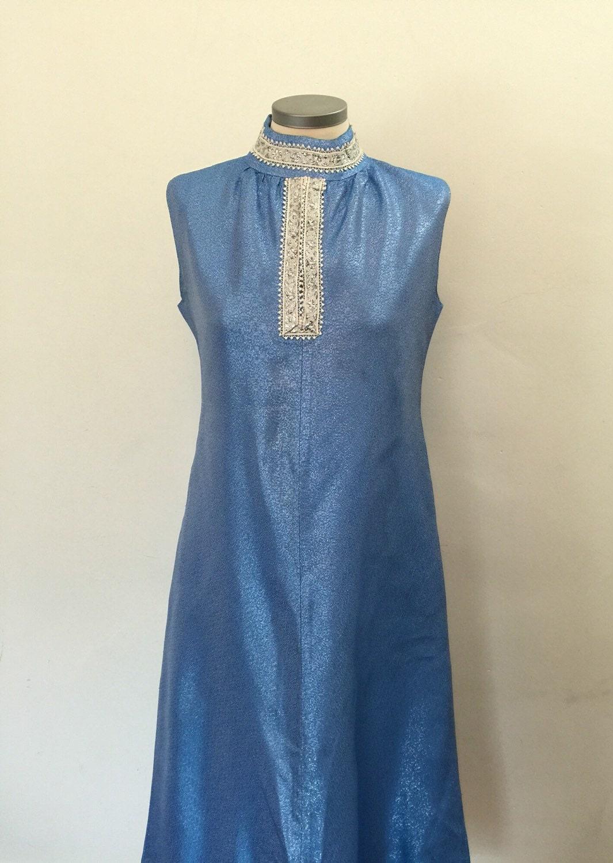 Maxi dress chrome spun rayon silver sky blue long evening dress High ...