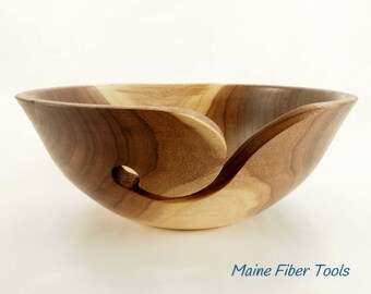 Wooden Yarn Bowl- French Walnut- Wooden Knitting Bowl- Unique Gift- Maine Fiber Tools