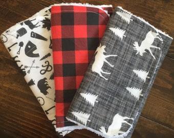 Buffalo Plaid Moose, woodsman, littleman, burp cloths, baby gift