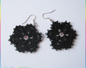 Starry flower tatting Earrings with rhinestones