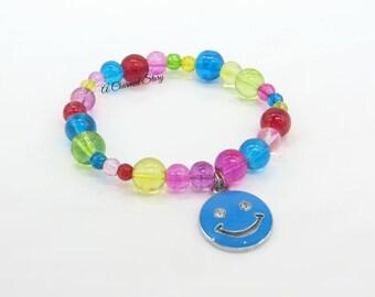 Girls Happy Face Stretch Bracelet (Blue)