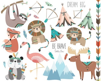Tribal Animals Clipart Vol. 3 - Set of 23 Vector, PNG, & JPG Files - Cute Woodland Clip Art, Animal Clipart, Woodland Nursery, Tribal Art