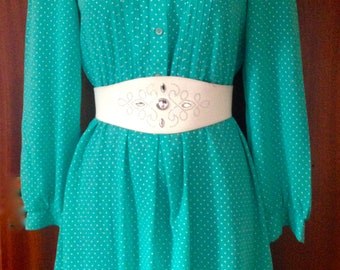 Vintage 80s green white ruffle peter pan collar tie neck polka dot day dress UK size 8/10