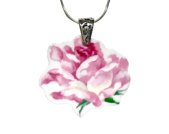 Repurposed, Handmade Gift for Her, Pink Rose Broken China Jewelry, Broken China Necklace, Sterling Silver