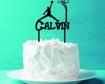 Basketball, dunk shot name cake topper