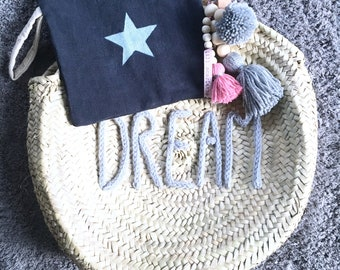 """Round duo•Cabas Moroccan decorated basket, basket cover + """"DREAM"""" palm star"""