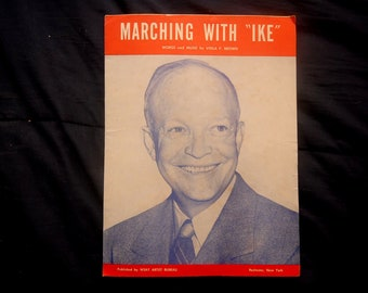 MARCHING WITH IKE Vintage Sheet Music