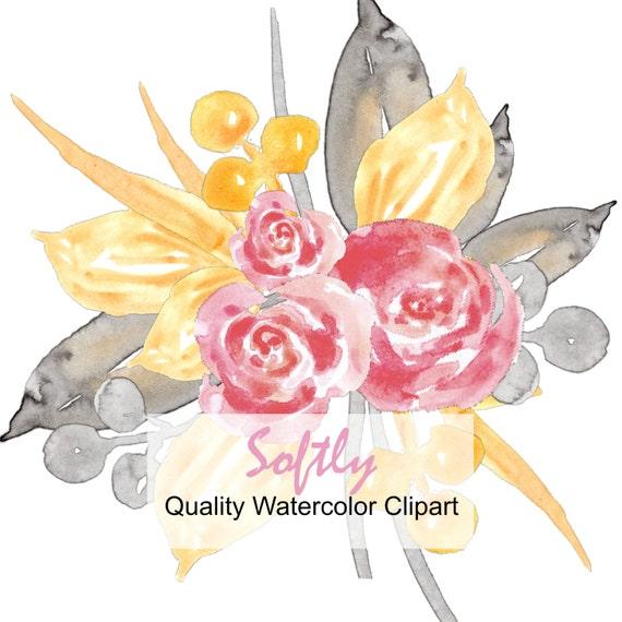 Pink Watercolor Flowers | Wedding Flowers Clip Art | Wedding Clipart ...