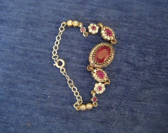 Silver bracelet 925 with ruby and white Sapphire