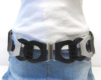 Wide Black Gray Silver Belt Stretch Corset Cinch Chain Look