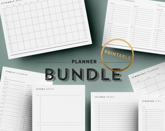 Printable Planner Bundle | Undated Planner Pages | To Do | Yearly Monthly Planner | Task | Minimalist | A4 | US Letter | Instant Download