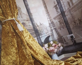 """NEW! Made To Order Sublime Huge Pair of  Old Gold Crushed Velvet Each Curtain Panel 113""""Drop 104""""Width  Lined Long Bay Curtains"""
