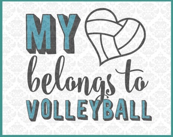 CLN0161 My Heart Belongs To Volleyball Player Game Season SVG DXF Ai Eps PNG Vector Instant Download Commercial Cut File Cricut Silhouette
