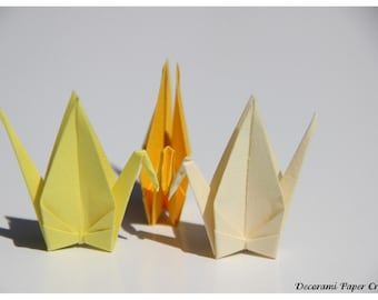 100 Origami Cranes - Vanilla, Yellow or Canary - Size S