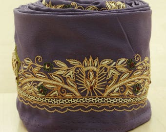 Free Shipping Indian Vintage Purple Used Sari Border Embroidered Trim Ribbon Sewing 1YD Lace VB14345