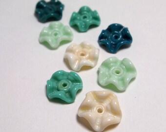 Handmade Lampwork Glass Beads - ruffled discs - Mermaid
