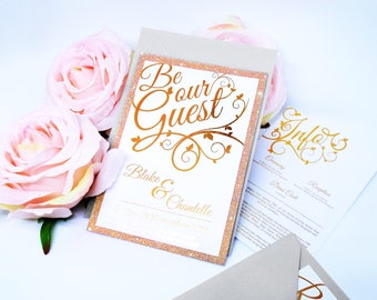 Be Our Guest Wedding Invitation Set. Custom Rose Gold Shimmer Invite. RSVP, Info and Invitation with Matching Envelopes.