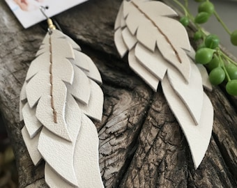 Lumin~ Leather Feather Earrings